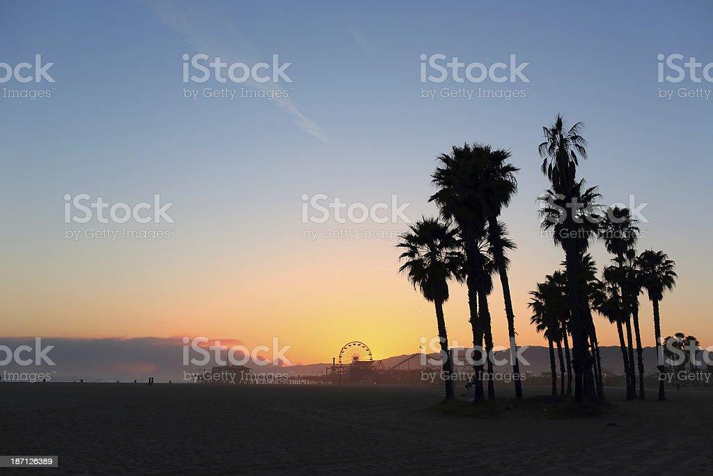 Santa Monica; Pier Sunset stock photo