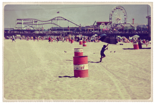 Retro-styled postcard of the famous Santa Monica pier -- all artwork is my own...For hundreds of similar vintage postcards from around the world, click the banner below.