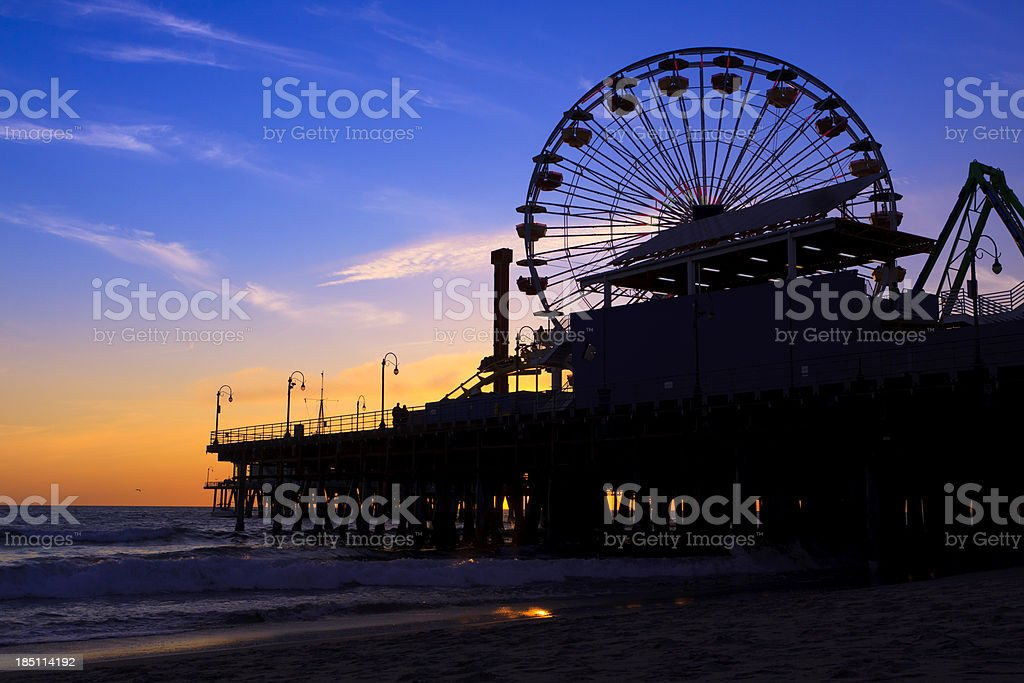 Santa Monica Pier with Ferris Wheel, California royalty-free stock photo