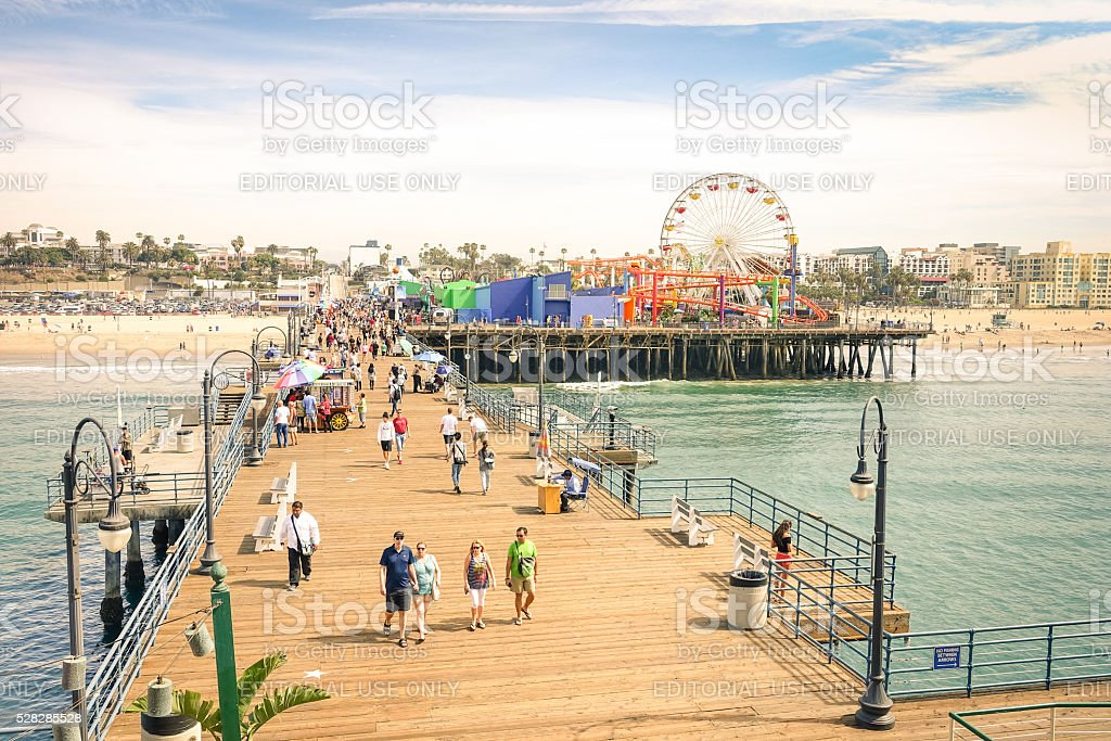 Santa Monica Pier with ferris wheel of Pacific Amusement Park stock photo