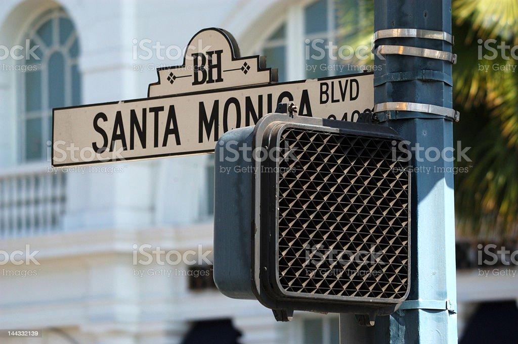 Santa Monica road sign royalty-free stock photo