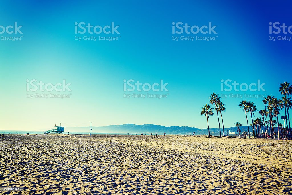 Santa Monica shore at sunset stock photo