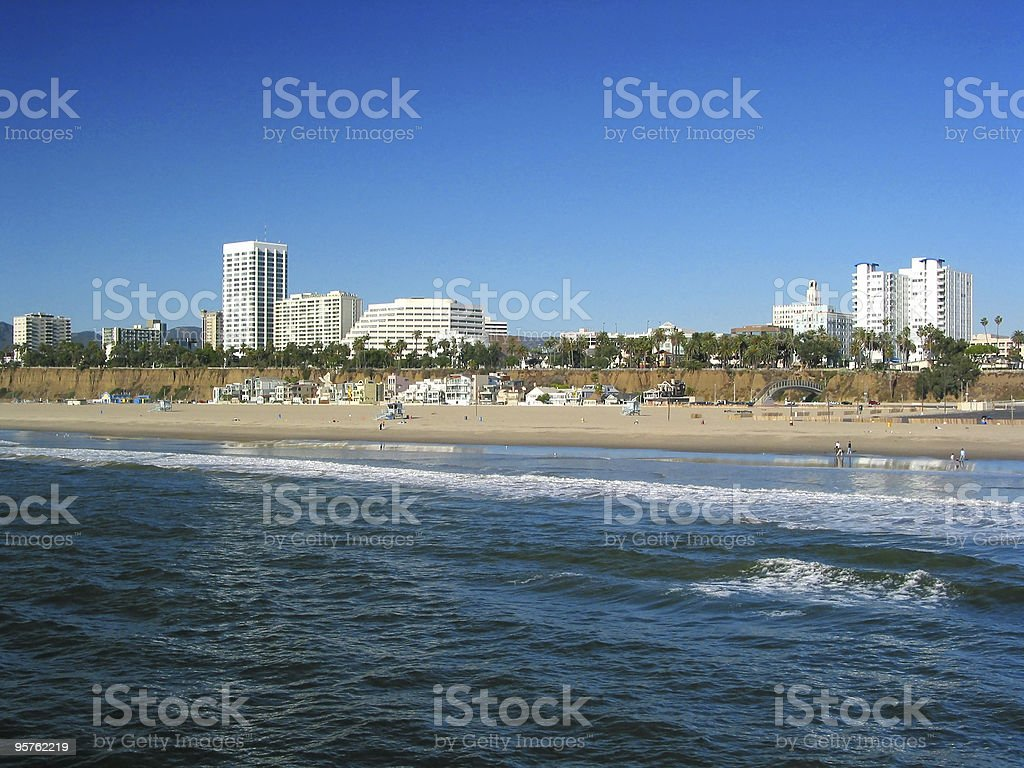 Santa Monica skyline and beach royalty-free stock photo