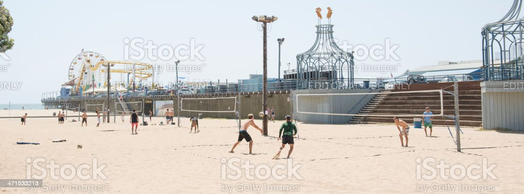 Santa Monica State Beach Volleyball Courts Panorama royalty-free stock photo