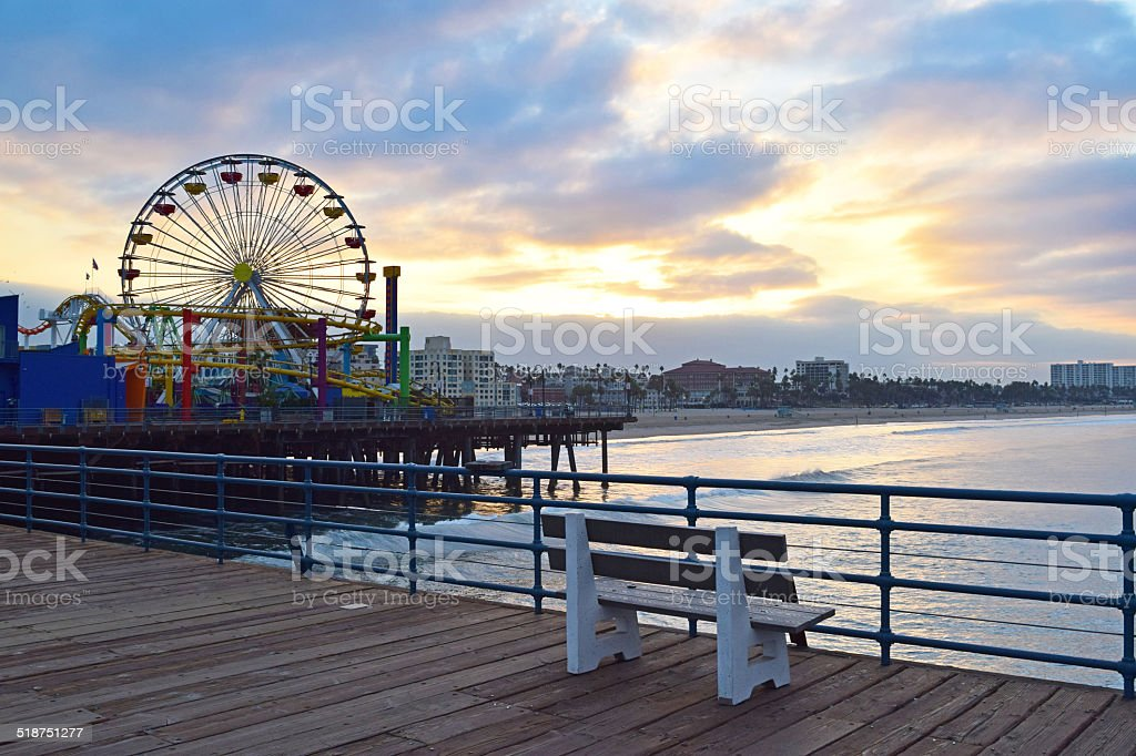 Santa Monica Sunrise stock photo