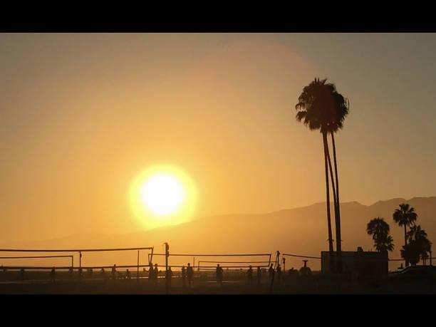 Santa Monica Sunset stock photo
