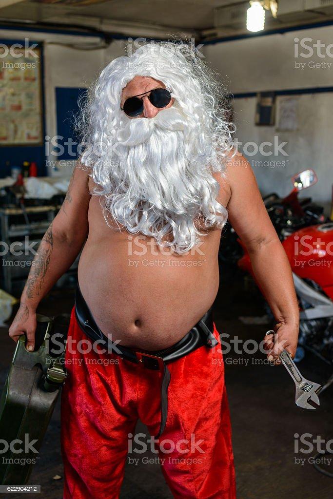 Papai Noel em uma moto - foto de acervo