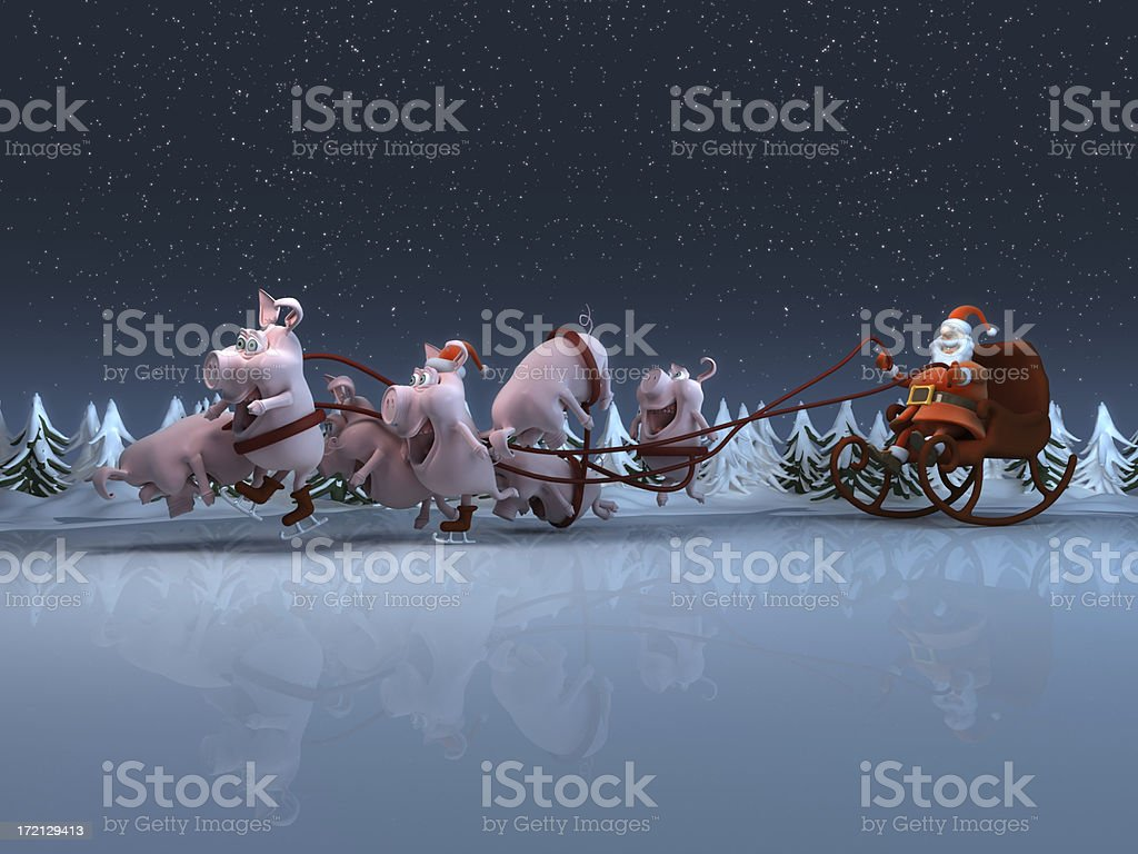 Santa & Pigs stock photo