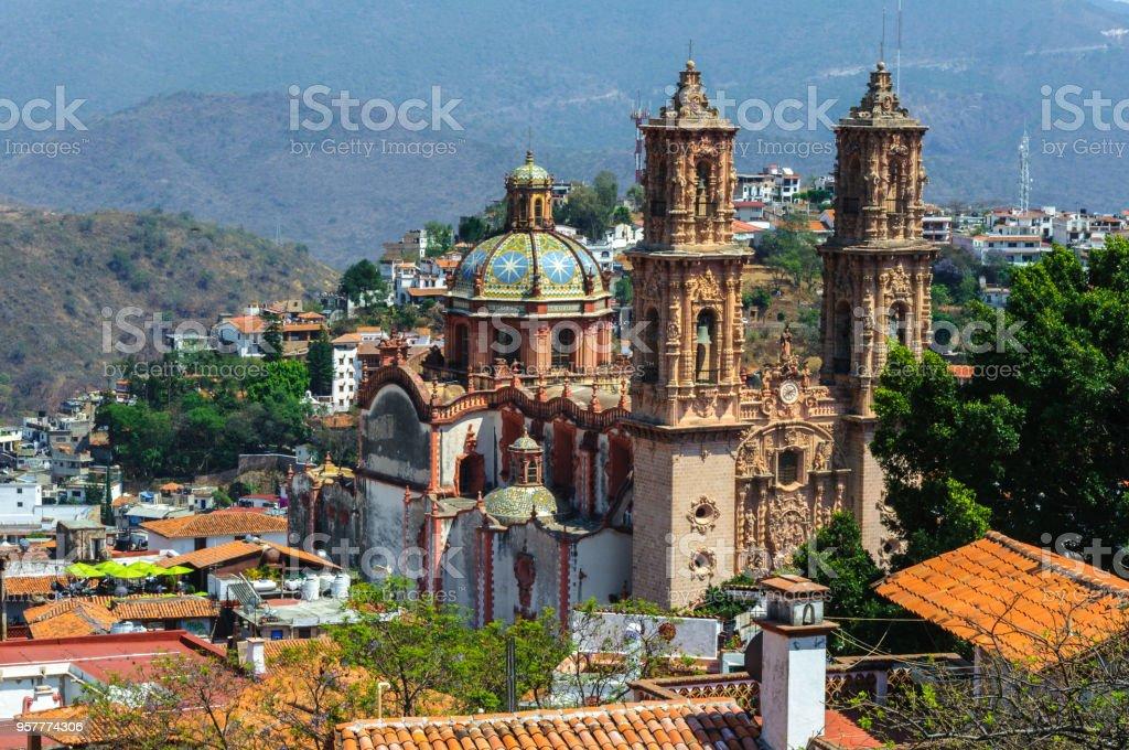 Santa Prisca parish in Taxco de Alarcon, Mexico stock photo
