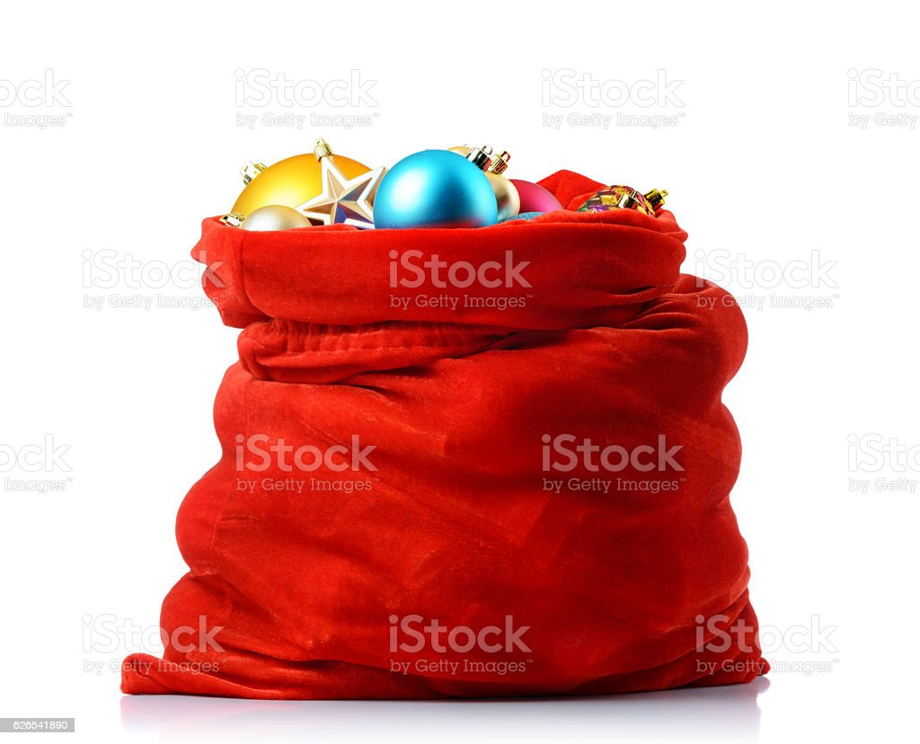 Santa red bag with christmas toys, isolated path included stock photo