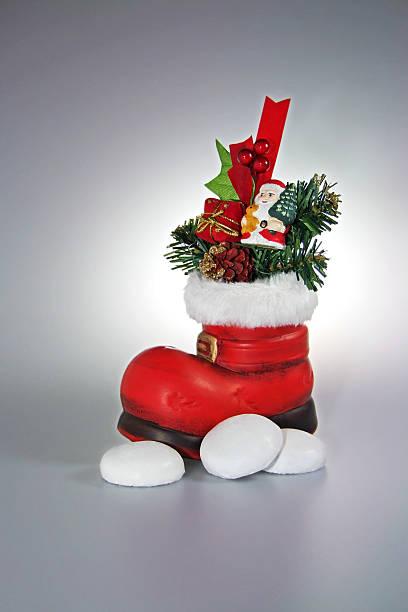 santa red boot - nikolausstiefel stock-fotos und bilder
