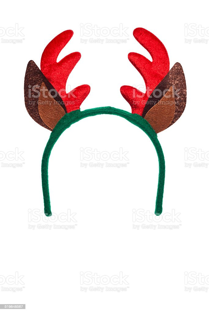 santa reindeer horns stock photo