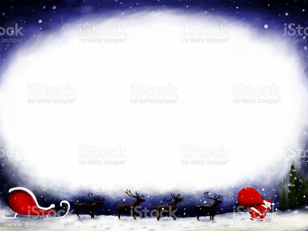 Santa, reindeers, and sleigh stock photo