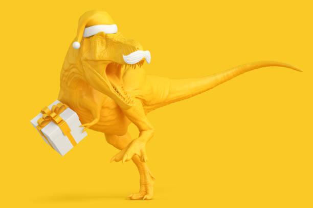 santa rex. weihnachten-konzept. 3d illustration. clipping-pfad enthält - cartoon kostüme stock-fotos und bilder