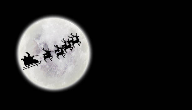Santa riding sleigh with reindeers silhouette Santa riding sleigh with reindeers silhouette sleigh stock pictures, royalty-free photos & images