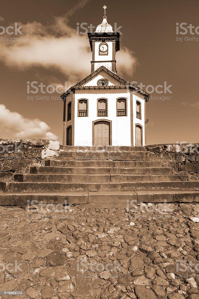 Santa Rita Church in Serro city stock photo