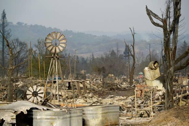 Santa Rosa 2017 Tubbs Fire Coffey Park neighborhood where 1300 homes burned stock photo