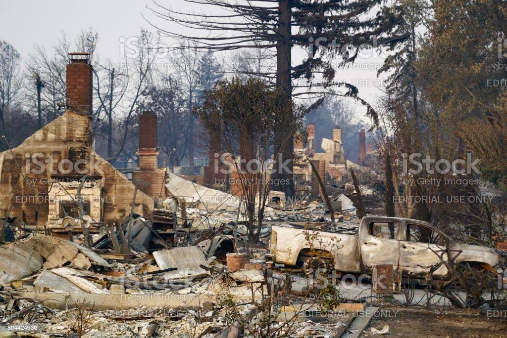 Buurt van Santa Rosa 2017 Tubbs brand Coffey Park waar 1300 huizen verbrand foto
