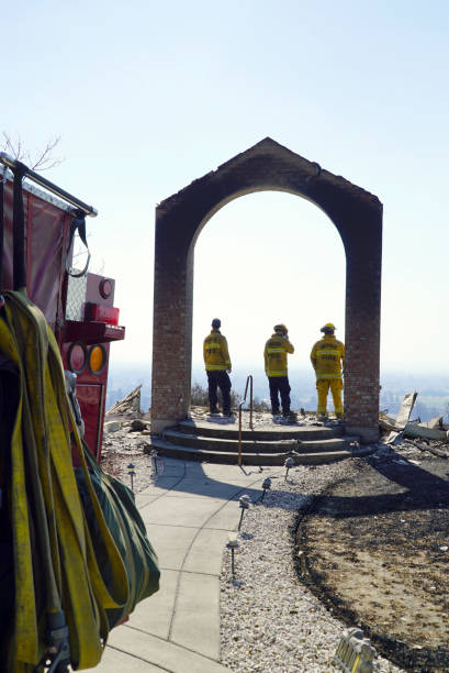 Santa Rosa 2017 Tubbs Fire firefighters rest after four days stock photo