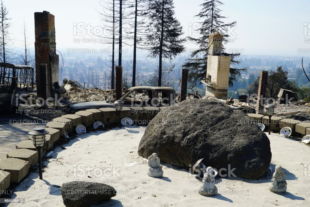2017 Santa Rosa Tubbs Fire Larkfield Wikiup neighborhood devastation stock photo