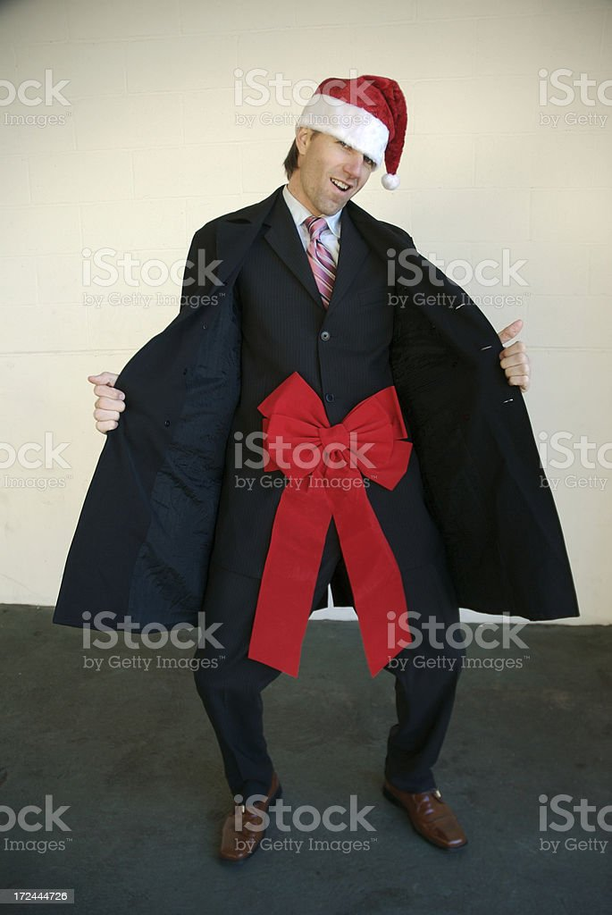 Santa Says Deck My Halls Inappropriate Holiday Flasher Businessman royalty-free stock photo
