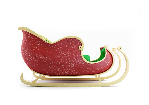 Santa Sleigh 3d Illustrations on a white background Santa Sleigh 3d Illustrations on a white background sled stock pictures, royalty-free photos & images