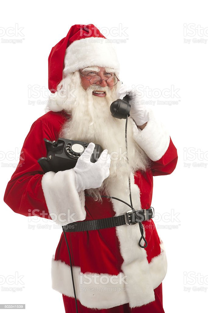 Santa Speaking on the Phone . royalty-free stock photo