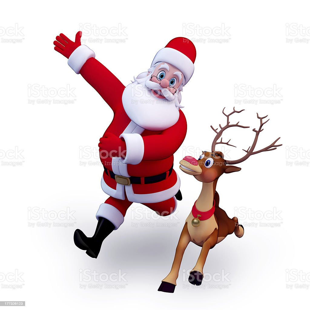 santa talking with reindeer stock photo