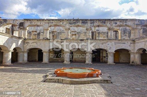 Santa Teresa De Jesus Monastery and Temple Courtyard in Old City Antigua Guatemala