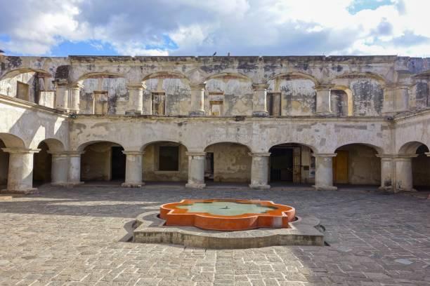 Santa Teresa De Jesus Monastery and Temple Courtyard in Old City Antigua Guatemala stock photo