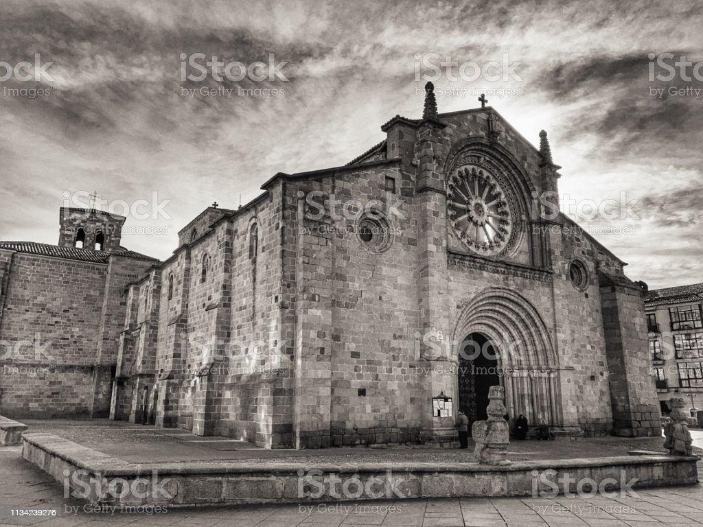 Santa Teresa's romanic church at Ávila, Spain. stock photo