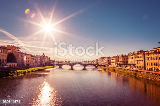 Santa Trinita Bridge on Arno river, sunset landscape. Florence, Tuscany, Italy , Europe