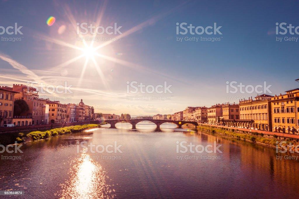 Santa Trinita Bridge on Arno river, sunset landscape. Florence, Tuscany, Italy , Europe stock photo