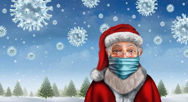 Santa Wearing A Mask stock photo