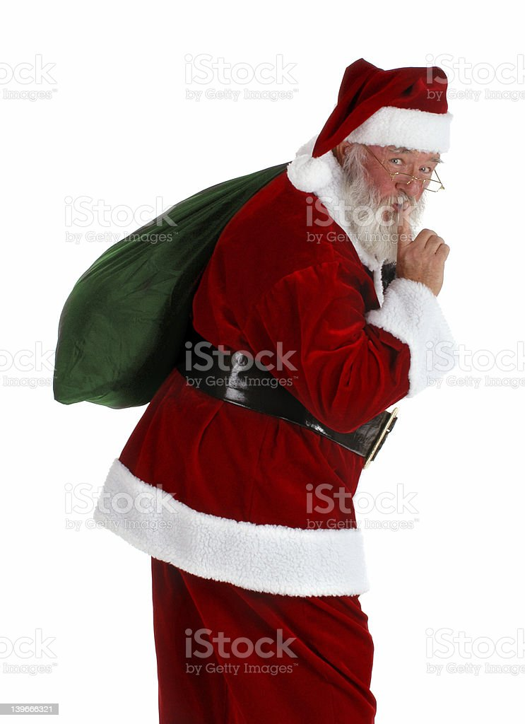 Santa with a green sack of toys stock photo