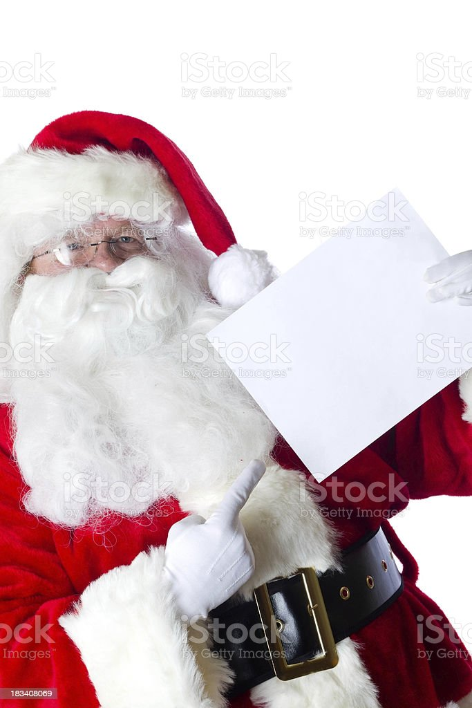 Santa with blank paper stock photo