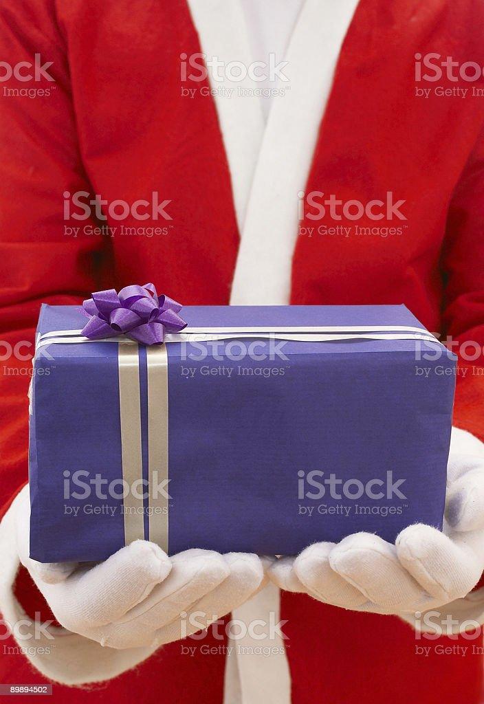 santa with christmas gift royalty-free stock photo