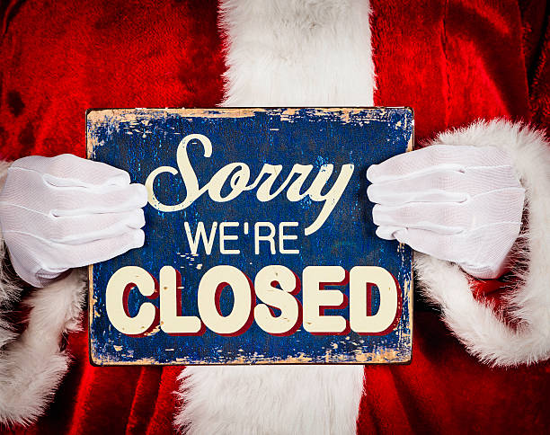 santa with closed sign - closed stock photos and pictures