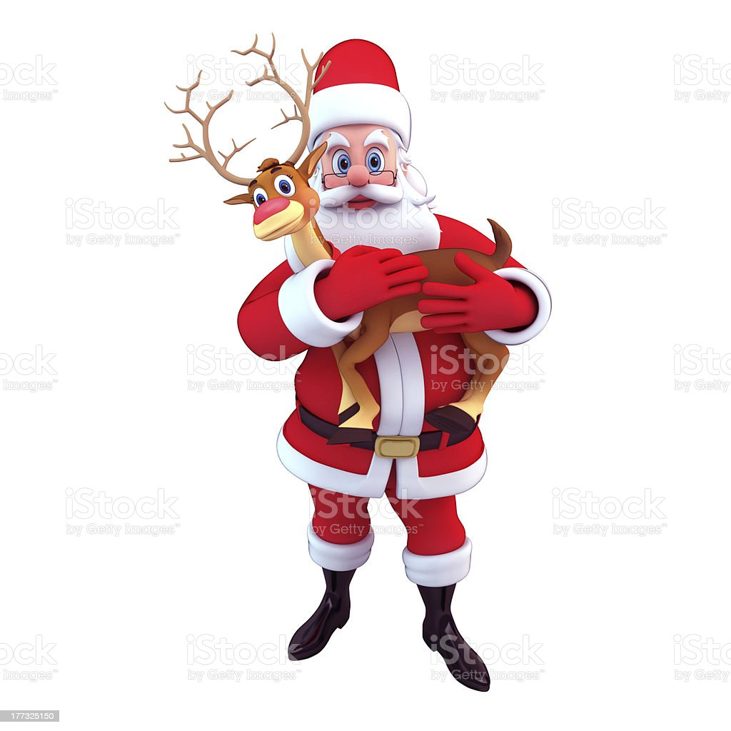 Santa with cute baby reindeer stock photo