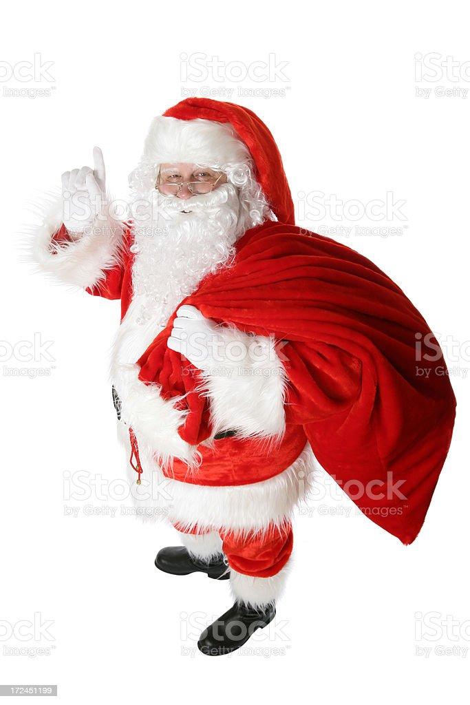 Santa with his sack (on white) royalty-free stock photo