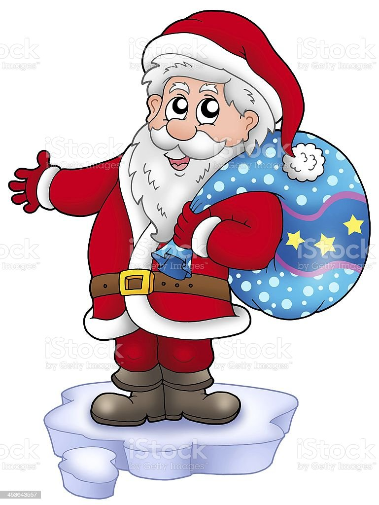 Santa with more gifts on iceberg royalty-free stock photo