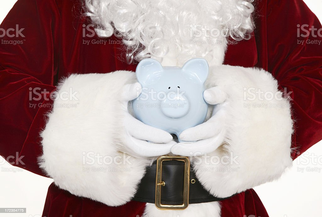 santa with piggy bank royalty-free stock photo