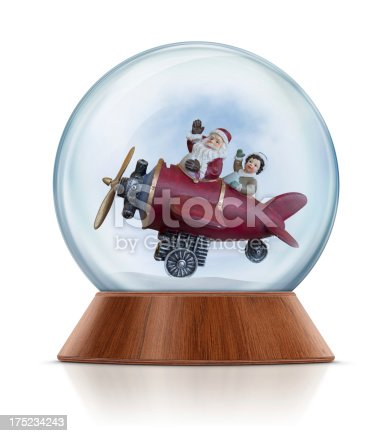Santa Claus and little boy flying with airplane and waving in the snow globe. Clean image and isolated on white background.