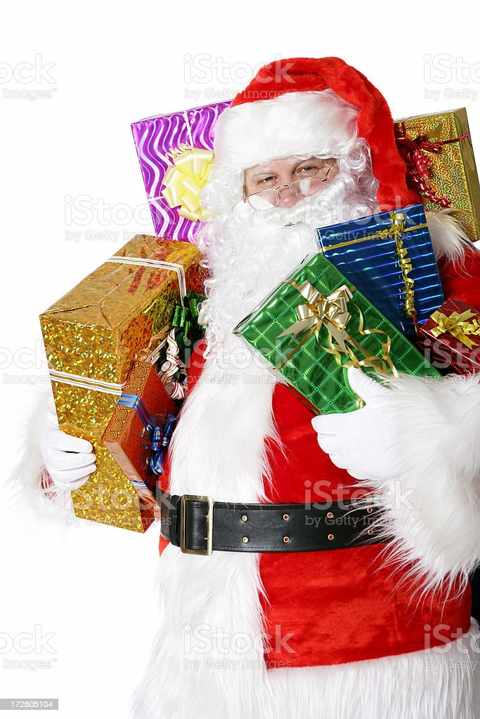 Santa with presents (on white) royalty-free stock photo