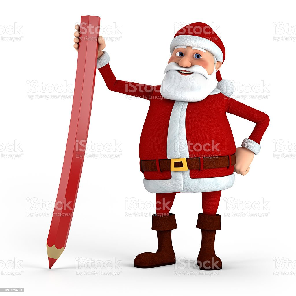 Santa with red pencil royalty-free stock photo