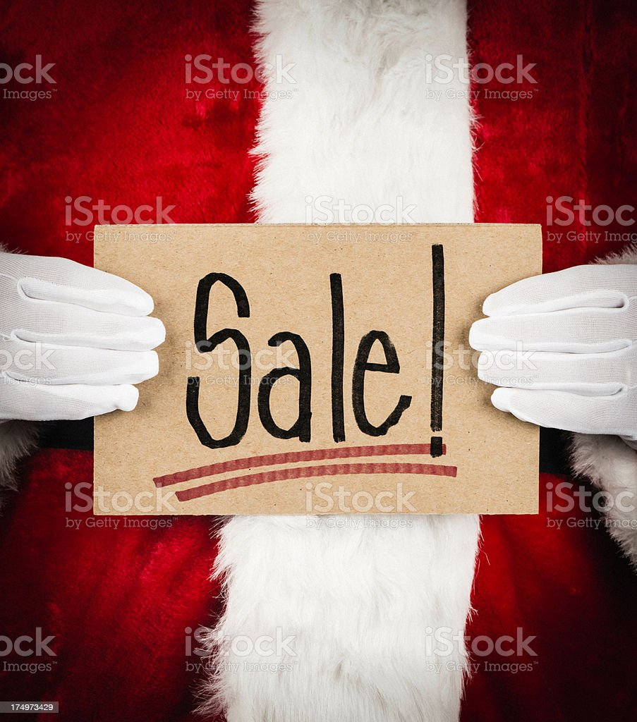 Santa with Sale Sign royalty-free stock photo
