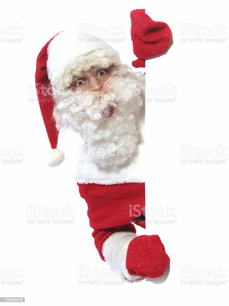 santa with the sign royalty-free stock photo