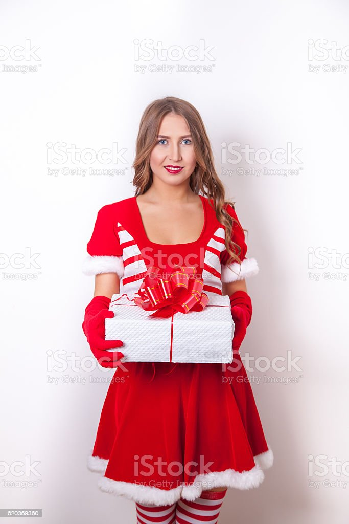 Santa woman as Christmas gift zbiór zdjęć royalty-free