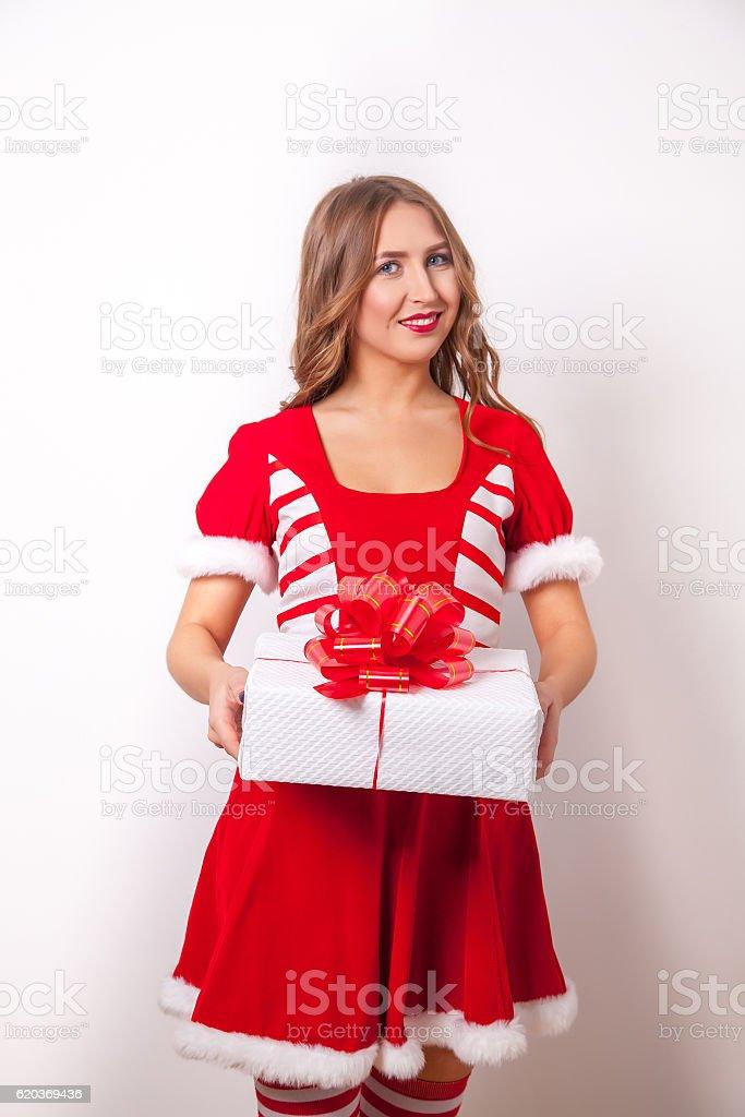 Santa woman as Christmas gift foto de stock royalty-free