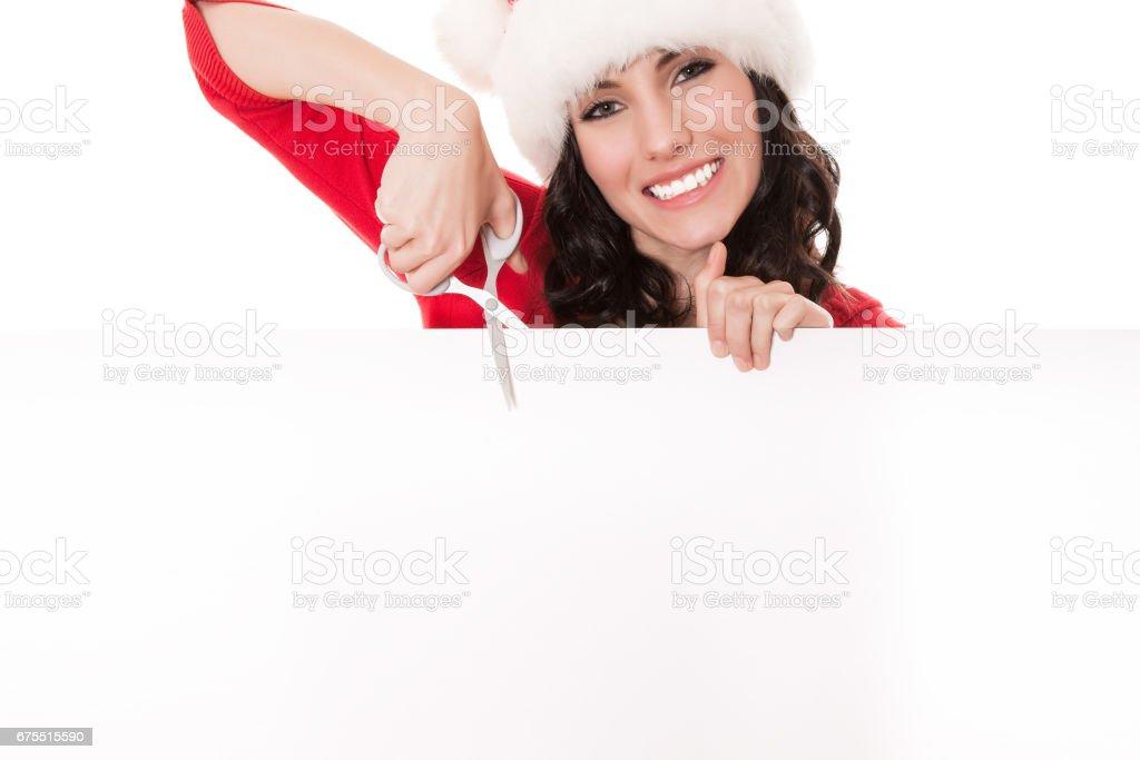 Santa femme vierge planche avec ciseaux photo libre de droits